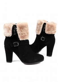 Black Round Toe Chunky Zipper Buckle Fashion Ankle Boots