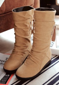 Apricot Round Toe Flat Within The Higher Fashion Mid-Calf Boots