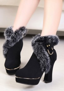 Black Round Toe Chunky Fur Patchwork Fashion Ankle Boots