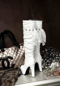 White Round Toe Stiletto Fashion Knee-High Boots