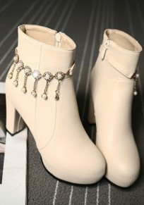 Beige Round Toe Chunky Pearl Fashion Martin Boots