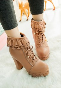 Apricot Round Toe Chunky Lace Zipper Fashion Ankle Boots