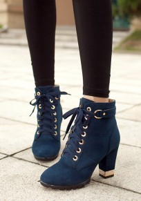 Blue Round Toe Chunky Lace-up Casual Ankle Boots