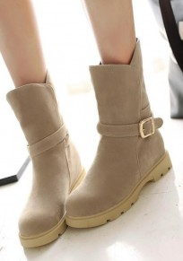 Beige Round Toe Mid Buckle Fashion Mid-Calf Boots