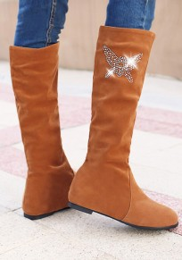 Brown Round Toe Flat Rhinestone Casual Knee-High Boots