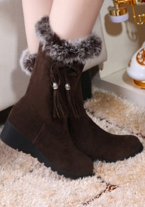 Brown Round Toe Mid Fur Casual Mid-Calf Boots