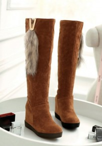 Yellow Flat Within The Higher Fur Patchwork Casual Knee-High Boots