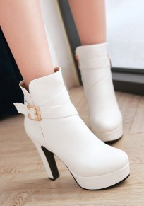 White Round Toe Chunky Buckle Zipper Casual Ankle Boots