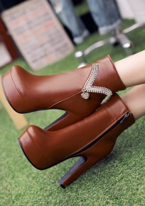 Brown Round Toe Chunky Rhinestone Zipper Fashion Ankle Boots