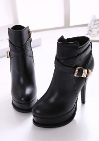 Black Round Toe Stiletto Buckle Fashion Ankle Boots