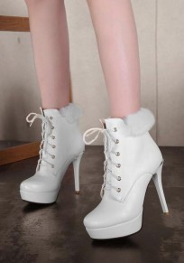 White Round Toe Stiletto Lace-up Fashion Ankle Boots