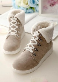Beige Round Toe Flat Lace-up Casual Ankle Boots