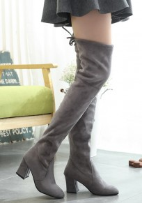 Grey Point Toe Chunky Lace-up Fashion Over-The-Knee Boots
