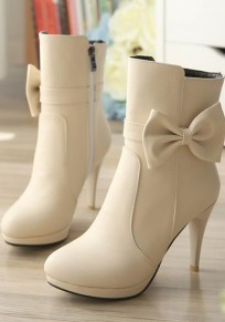 Apricot Round Toe Stiletto Bow Fashion Ankle Boots