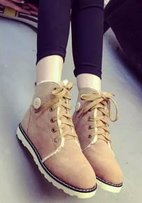 Brown Round Toe Flat Lace-up Fashion Ankle Boots