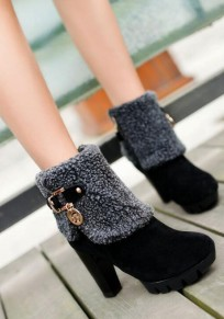 Black Round Toe Chunky Zipper Casual Ankle Boots