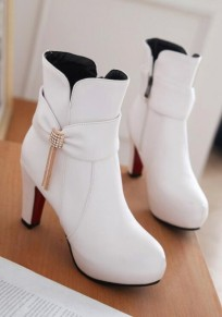 White Round Toe Chunky Rhinestone Bow Fashion Ankle Boots