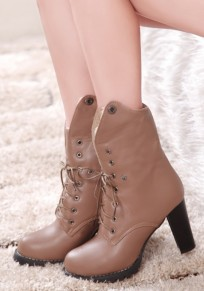 Apricot Round Toe Chunky Lace-up Casual Ankle Boots