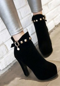 Black Round Toe Chunky Rivet Fashion Ankle Boots