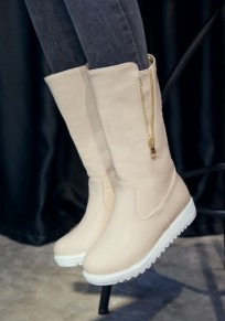 Beige Round Toe Flat Casual Mid-Calf Boots