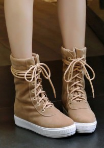 Camel Round Toe Flat Lace-up Casual Ankle Boots