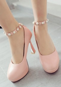Pink Round Toe Chunky Pearl Sweet High-Heeled Shoes