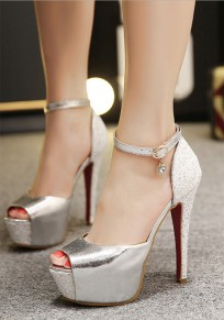 Silver Piscine Mouth Stiletto Sequin Rhinestone Fashion High-Heeled Sandals