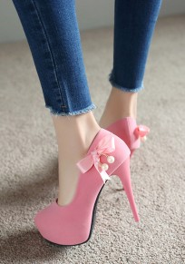 Pink Round Toe Stiletto Bow Pearl Sweet High-Heeled Shoes