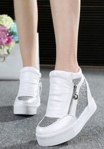 White Flat Within The Higher Sequin Casual Ankle Shoes