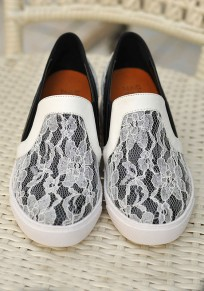 White Round Toe Flat Lace Stitching Casual Shoes