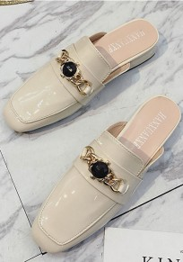 White Round Toe Chunky Casual Low-Heeled Slippers