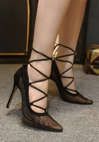 Black Point Toe Stiletto Hollow-out Fashion High-Heeled Sandals
