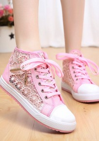 Pink Round Toe Flat Grenadine Patchwork Zipper Casual Shoes