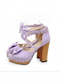 Purple Piscine Mouth Chunky Buckle Bow Fashion High-Heeled Sandals