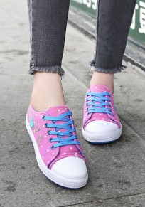 Red Round Toe Flat Sequin Lace-up Casual Canvas Shoes