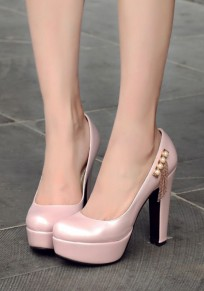 Pink Round Toe Chunky Pearl Tassel Fashion High-Heeled Shoes