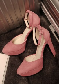 Pink Round Toe Chunky Fashion High-Heeled Shoes