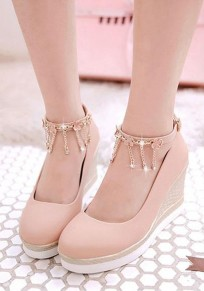Pink Round Toe Chain Buckle Sweet Wedges Shoes