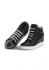 Black Round Toe Within The Higher Rhinestone Zipper Casual Shoes