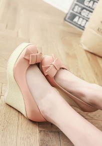Pink Round Toe Bow Sweet Wedges Shoes