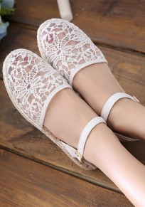 White Round Toe Casual Lace Buckle Flat Shoes
