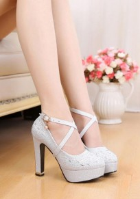 Silver Round Toe Chunky Buckle Fashion High-Heeled Shoes
