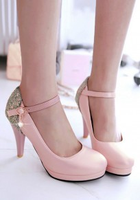 Pink Round Toe Stiletto Sequin Casual High-Heeled Shoes