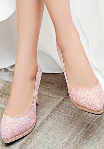 Pink Point Toe Stiletto Sequin Fashion High-Heeled Shoes