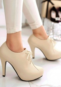 Beige Round Toe Stiletto Casual Lace-up High-Heeled Shoes