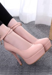 Pink Round Toe Stiletto Buckle Fashion High-Heeled Shoes