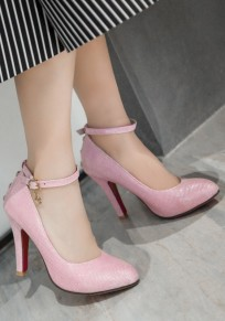 Pink Point Toe Stiletto Rivet Fashion High-Heeled Shoes