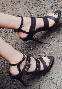 Black Round Toe Stiletto Buckle Casual High-Heeled Sandals