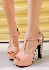 Pink Piscine Mouth Chunky Sequin Buckle Fashion High-Heeled Sandals