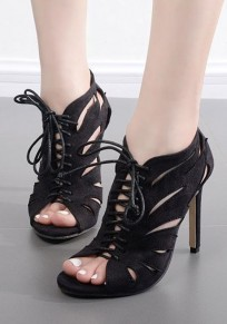 Black Piscine Mouth Stiletto Cross Strap Casual High-Heeled Sandals